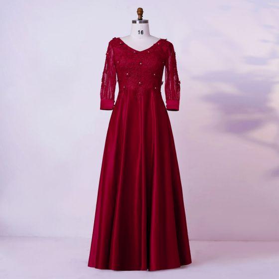 Vintage / Retro Burgundy Plus Size Evening Dresses  2020 A-Line / Princess V-Neck Floor-Length / Long Long Sleeve Handmade  3D Lace Beading Rhinestone Solid Color Evening Party Formal Dresses