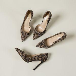 Chic / Beautiful Brown Street Wear Leopard Print Pumps 2020 Suede 10 cm Stiletto Heels Pointed Toe Pumps