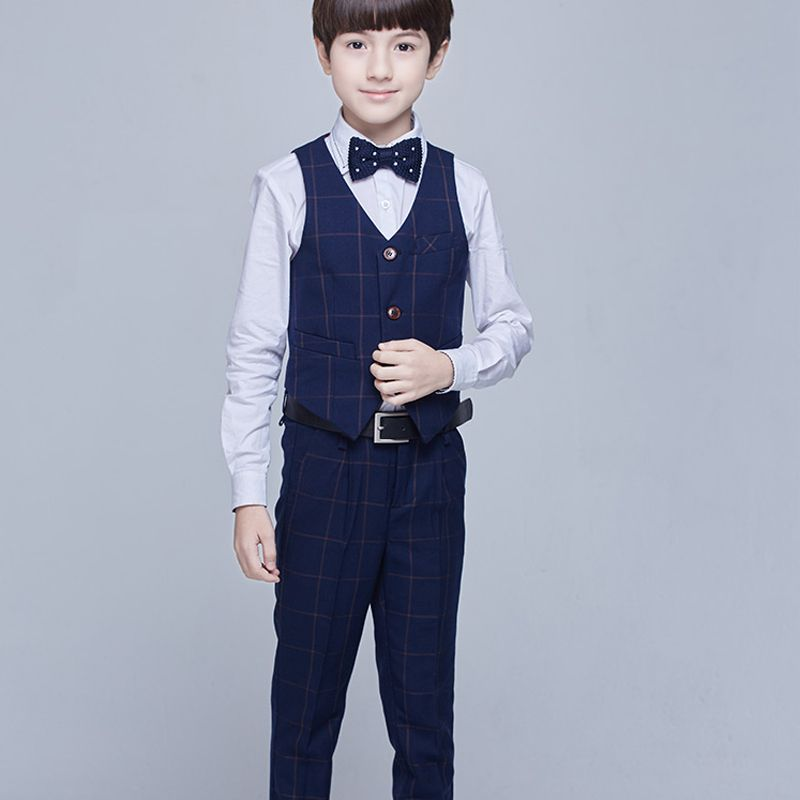 Modest / Simple Navy Blue Long Sleeve Boys Wedding Suits 2017