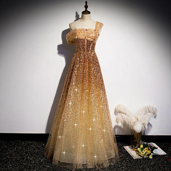 Moda Złote Taniec Sukienki Na Bal 2020 Princessa Jedno Ramię Kótkie Rękawy Cekiny Frezowanie Długie Wzburzyć Bez Pleców Sukienki Wizytowe