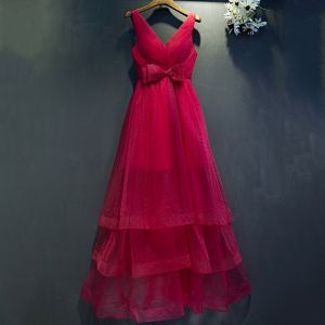 Chic / Beautiful Red Formal Dresses A-Line / Princess Bow V-Neck Sleeveless Ankle Length 2017 Prom Dresses