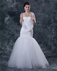 Tulle Satin Ruffles Sweetheart Floor-Length Mermaid Wedding Dresses