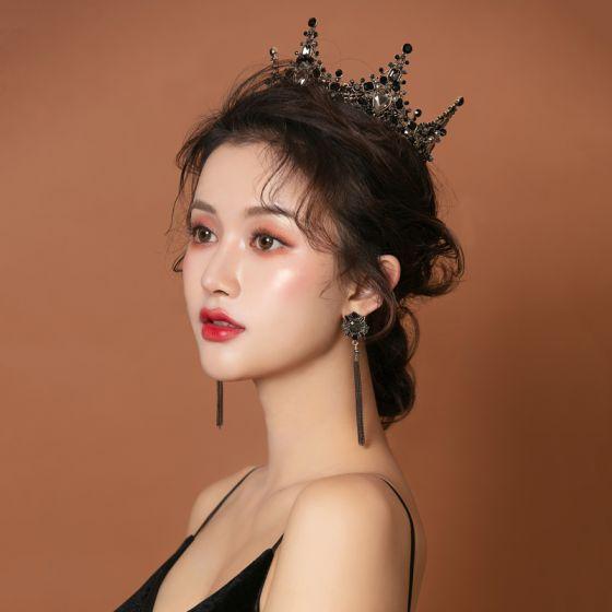 Vintage / Retro Baroque Black Bridal Jewelry 2019 Metal Rhinestone Tiara Tassel Earrings Wedding Accessories