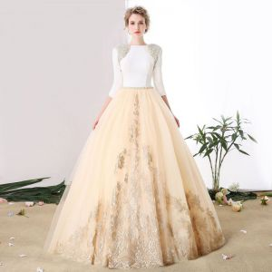 Luxury / Gorgeous Champagne Prom Dresses 2017 A-Line / Princess Lace V-Neck Beading Appliques Backless Handmade  Evening Party Prom Formal Dresses