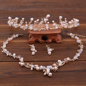 Chic / Belle Doré Ivoire Bijoux Mariage 2018 Métal Perle Cristal Faux Diamant Tiare Boucles D'Oreilles Un Collier Accessorize