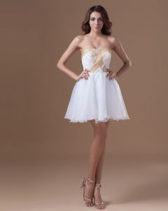 Organza Mini Beading Sweetheart Pleated Women Cocktail Dress