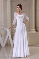 2015 Charming Empire Square Neckline Pierced Lace Sleeves Backless Bridal Gown Wedding Dress