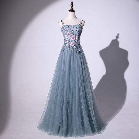 Modern / Fashion Flower Fairy Green Prom Dresses 2019 A-Line / Princess Spaghetti Straps Beading Crystal Sequins Lace Flower Sleeveless Backless Floor-Length / Long Formal Dresses