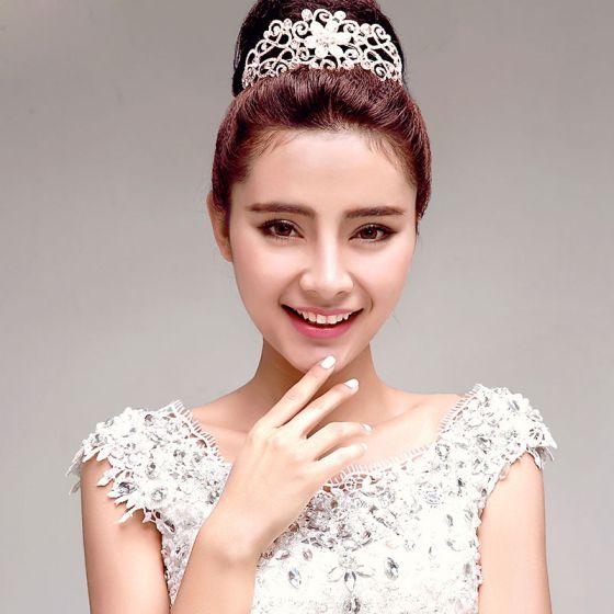 Sota Mode Elegant Strass Bröllopssmycken Tiara Haraccessoarer