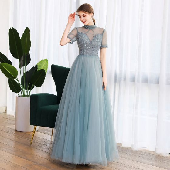 Vintage Grün Tanzen Ballkleider 2020 A Linie Durchsichtige Stehkragen Ärmellos Perlenstickerei Lange Rüschen Rückenfreies Festliche Kleider