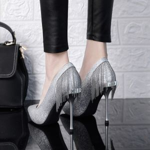 Brillante Plata Zapatos de novia 2019 Glitter Lentejuelas Tassel 10 cm Stilettos / Tacones De Aguja Punta Estrecha Boda Tacones