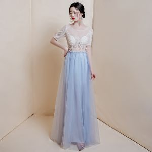Illusion Sky Blue See-through Prom Dresses 2020 A-Line / Princess Scoop Neck Short Sleeve Glitter Tulle Beading Floor-Length / Long Ruffle Formal Dresses