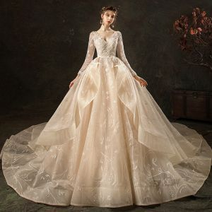 High-end Fashion Champagne Wedding Dresses 2020 Ball Gown V-Neck Lace Flower Long Sleeve Backless Cascading Ruffles Royal Train