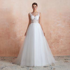 Illusion Ivory / Creme Durchsichtige Brautkleider / Hochzeitskleider 2020 A Linie Eckiger Ausschnitt Ärmellos Applikationen Spitze Pailletten Sweep / Pinsel Zug Rüschen