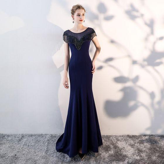 Chic / Beautiful Navy Blue Evening Dresses  2019 Trumpet / Mermaid Scoop Neck Beading Tassel Sleeveless Formal Dresses