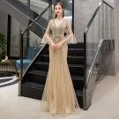 Luxury / Gorgeous Gold Evening Dresses  2019 Trumpet / Mermaid Deep V-Neck Bell sleeves Handmade  Sequins Beading Floor-Length / Long Ruffle Backless Formal Dresses