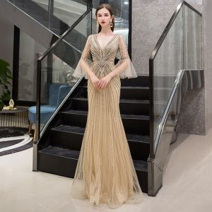 Luxury / Gorgeous Gold Evening Dresses  2019 Trumpet / Mermaid Deep V-Neck Bell sleeves Handmade  Sequins Beading Floor-Length / Long Ruffle Backless Formal Dresses