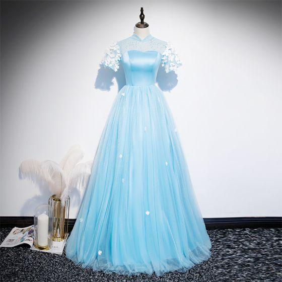 Style Chinois Bleu Ciel Transparentes Robe De Soirée 2020 Princesse Col Haut Manches Courtes Appliques En Dentelle Faux Diamant Longue Volants Dos Nu Robe De Ceremonie