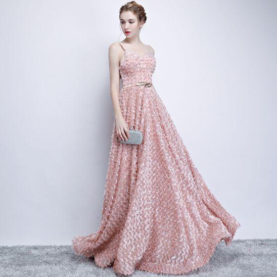 Chic / Beautiful Evening Dresses  2017 A-Line / Princess Lace Metal Floor-Length / Long Spaghetti Straps Sleeveless Formal Dresses