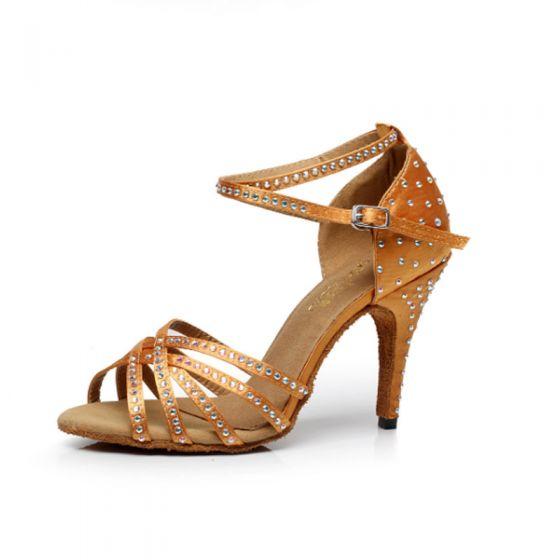Chic / Belle Marron Chaussures de danse latine 2020 X-Strap Cuir Perlage Faux Diamant 10 cm Dansant Promo Talons Hauts Sandales Chaussures Femmes