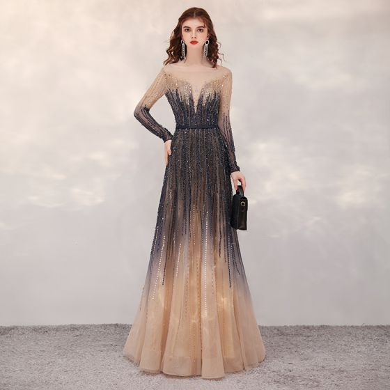 High-end Navy Blue Gradient-Color Champagne Evening Dresses  2020 A-Line / Princess See-through Square Neckline Long Sleeve Sequins Beading Floor-Length / Long Ruffle Backless Formal Dresses