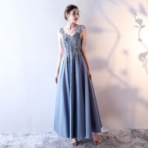Chic / Beautiful 2017 Ocean Blue Evening Dresses  V-Neck Chiffon Handmade  Corset Appliques Backless A-Line / Princess Formal Dresses