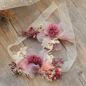 Blomsterfe Multi-Farver Hårpynt 2019 Tulle Blomsten Håndlavet Bryllup Accessories