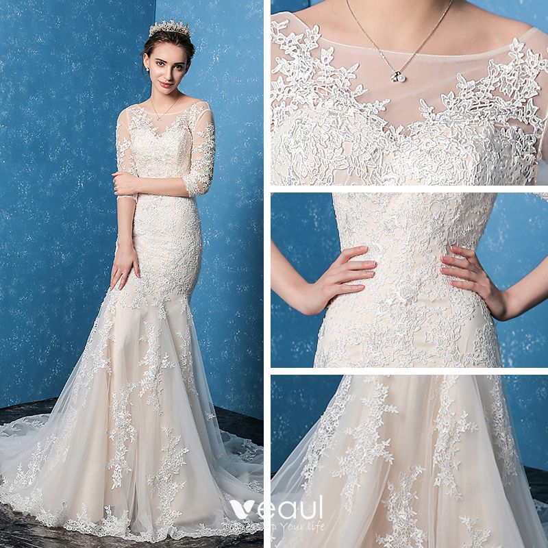 Modest / Simple Church Hall Wedding Dresses 2017 Champagne Trumpet / Mermaid Court Train 3/4 Sleeve Scoop Neck Backless Lace Appliques