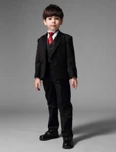 Children's Black Suits With Red Tie, Boys Wedding Suits 5 Sets