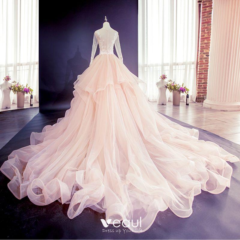 Elegant Champagne Puffy Wedding Dresses 2018 Ball Gown