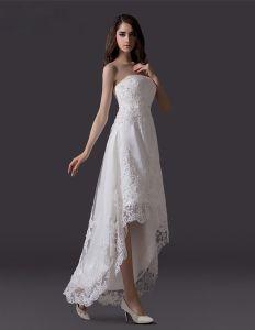 Klassiska Beading Rhinestone Broderas Spets Tyll Kort Strand Bröllopsklänningar