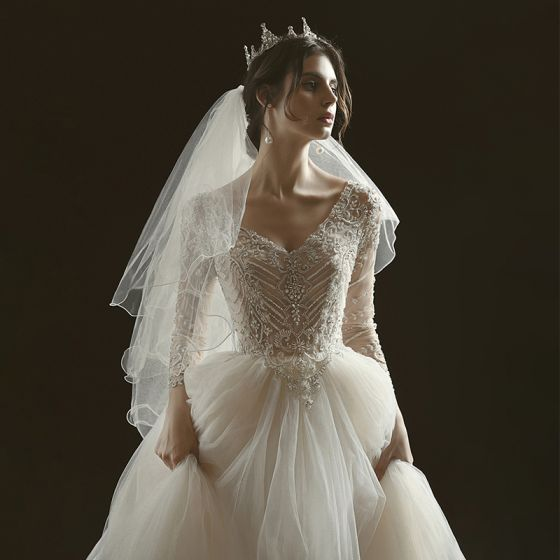 Luxury / Gorgeous Champagne See-through Bridal Wedding Dresses 2020 Ball Gown V-Neck 3/4 Sleeve Backless Handmade  Beading Glitter Tulle Chapel Train Ruffle
