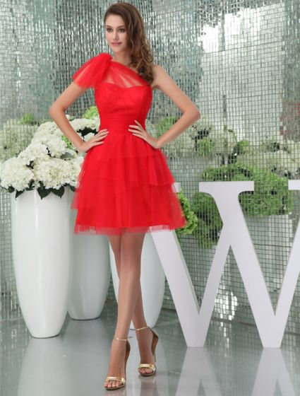2015 Red Tulle One-shoulder Ruffles Short Cocktail Dress