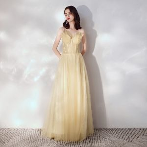 Chic / Beautiful Gold Evening Dresses  2019 A-Line / Princess Spaghetti Straps Sleeveless Glitter Tulle Sweep Train Ruffle Backless Formal Dresses