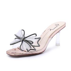 Moda Champán Ropa de calle Sandalias De Mujer 2020 Rhinestone Bowknot 7 cm Stilettos / Tacones De Aguja Peep Toe Sandalias
