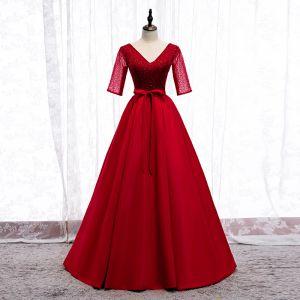 Elegante Rot Ballkleider 2020 A Linie V-Ausschnitt Schleife Perlenstickerei Pailletten 1/2 Ärmel Rückenfreies Lange Festliche Kleider