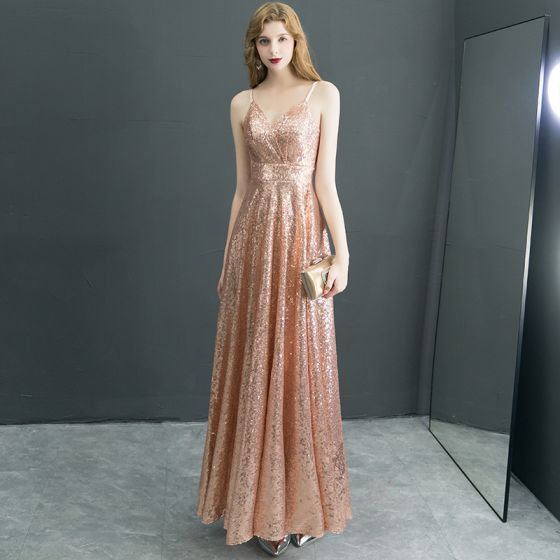 Sparkly Gold Evening Dresses  2019 A-Line / Princess Glitter Sequins Spaghetti Straps Sleeveless Backless Ankle Length Formal Dresses