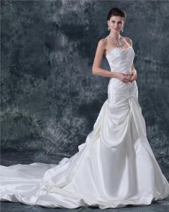 Satin Beading Sweetheart Cathedral A-line Bridal Gown Wedding Dress