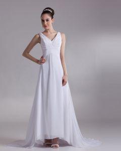 V Neck Pleated Floor Length Chiffon Empire Wedding Dress