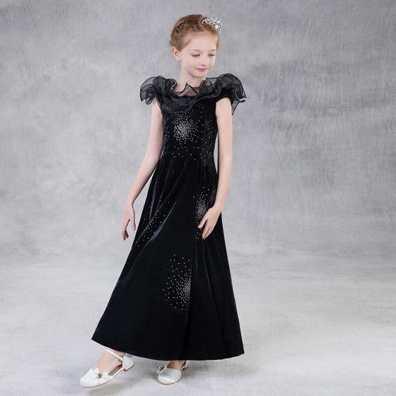 Proste / Simple Czarne Zamszowe Sukienki Dla Dziewczynek 2018 Princessa Kwadratowy Dekolt Bez Rękawów Cekinami Rhinestone Długie Bez Pleców Sukienki Na Wesele