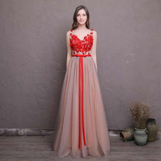 Chic / Beautiful Red Prom Dresses 2018 A-Line / Princess Appliques Crystal Bow V-Neck Backless Sleeveless Floor-Length / Long Formal Dresses