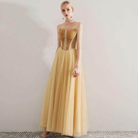 Sexy Goud Galajurken 2019 A lijn Strapless Kralen Kristal Mouwloos Ruglooze Lange Gelegenheid Jurken