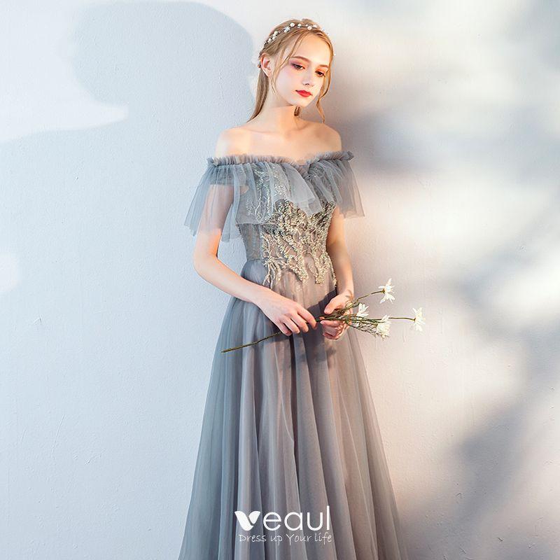 Mode Grau Spitze Blumen Abendkleider 2019 A Linie Off ...
