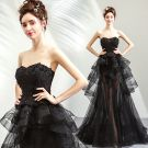 Sexy Summer Black Evening Dresses  2019 A-Line / Princess Sweetheart Sleeveless Sequins Beading Sweep Train Cascading Ruffles Backless Formal Dresses