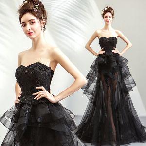 Sexy Summer Black Evening Dresses  2019 A-Line / Princess Sweetheart Sleeveless Sequins Beading Sweep Train Cascading Ruffles Backless Formal Dresses