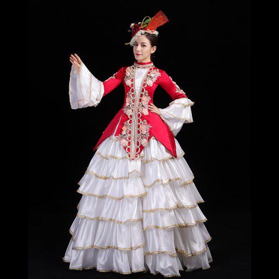 Vintage Mittelalterlich Gotische Rot Ballkleid Ballkleider 2021 Stehkragen Lange Ärmel Lange 3D Spitze Applikationen Stickerei Blumen Cosplay Festliche Kleider