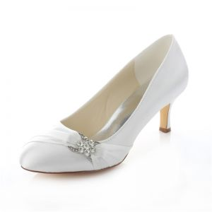 Elegant Satin Wedding Shoes White Stiletto Heels Pumps With Crystal