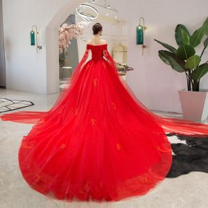 Chic / Beautiful Red Wedding Dresses 2019 A-Line / Princess Off-The-Shoulder Beading Pearl Appliques Lace Flower Sequins Short Sleeve Backless Cathedral Train