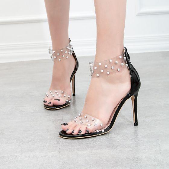 Doorzichtig Zomer Zwarte Feest Klinknagel Sandalen Dames 2020 10 cm Naaldhakken / Stiletto Peep Toe Sandalen