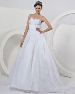 Organzaapplique Sweetheart Perlen Bodenlangen Ballkleid Hochzeitskleid